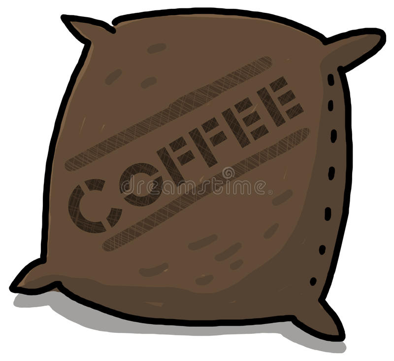 Coffee sack illustration. Coffee beans sack illustration; Canvas coffee bag cartoon vector illustration