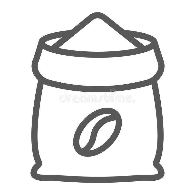 Coffee sack line icon, coffee and cafe, coffee. Bag sign vector graphics, a linear pattern on a white background, eps 10 royalty free illustration