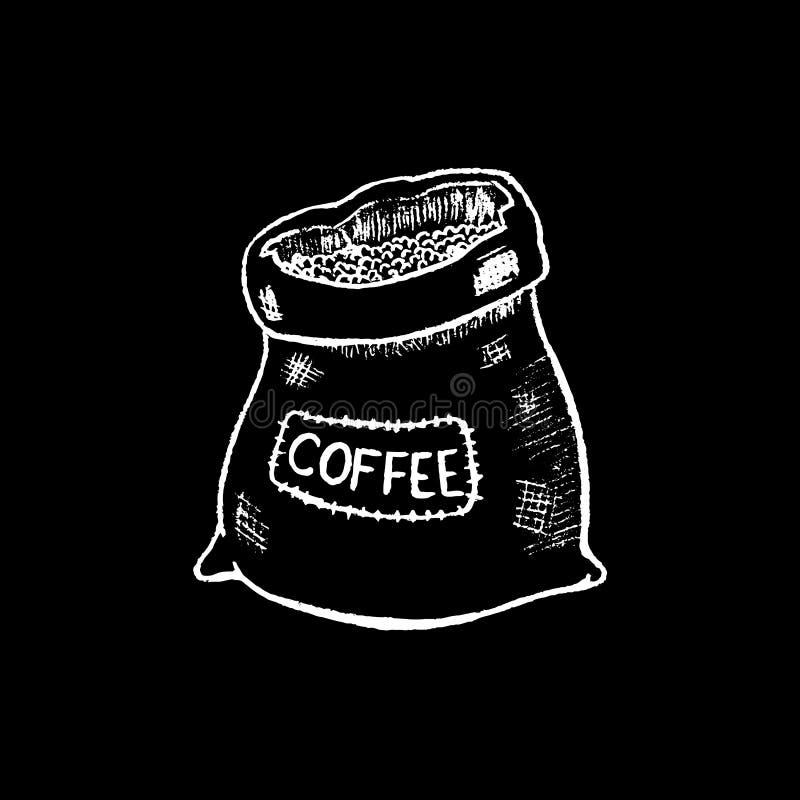 Coffee sack white chalk on black chalkboard illustration. White chalk burlap sack. Rustic coffee sack. Coffee bean package. Blackboard coffee bag icon. Cafe or stock illustration