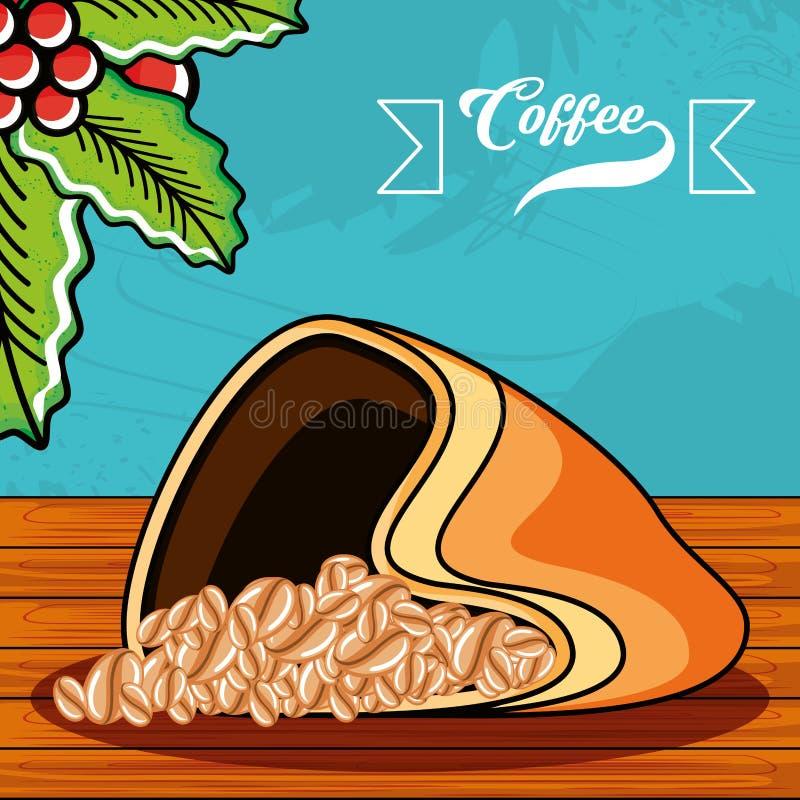 Coffee sack in wooden table. Vector illustration design stock illustration
