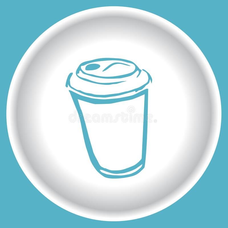 Coffee scetch blue cup on white plate vector on blue background stock illustration
