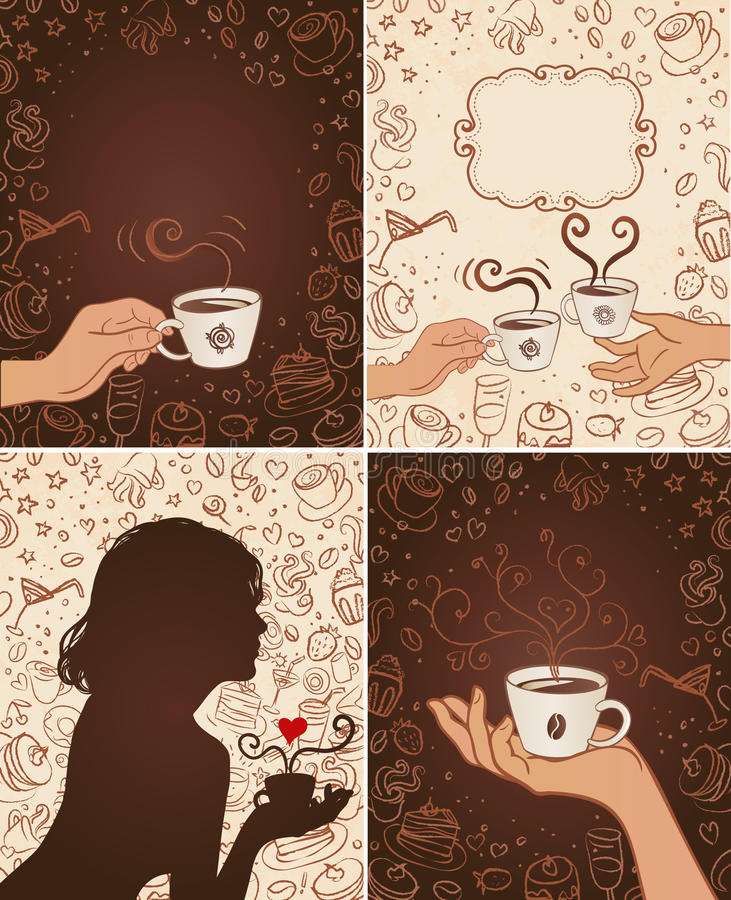 Coffee scribble backgrounds set royalty free illustration