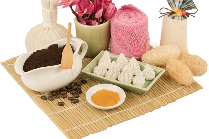Coffee Scrub, Spa from natural raw materials. stock photos