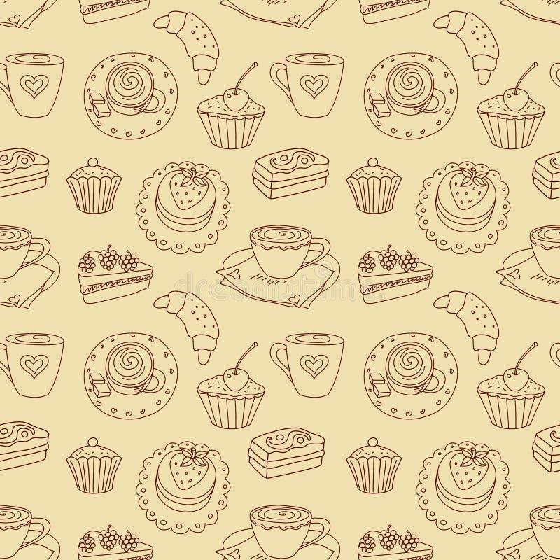 Coffee Seamless Line Pattern. Stock Image