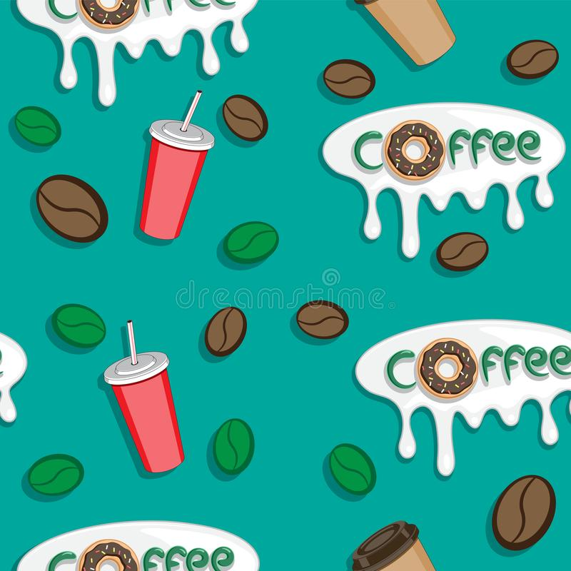 Coffee Seamless Pattern. Donuts grain Cup Coffee Lettering.Vector illustration vector illustration
