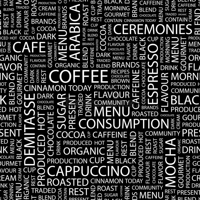 COFFEE. Seamless pattern. Word cloud illustration royalty free illustration