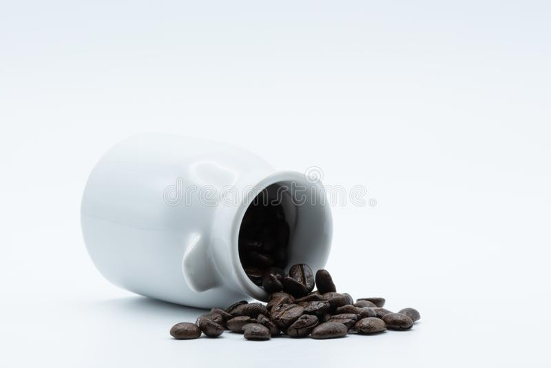 Coffee seed in a ceramic jar stock image