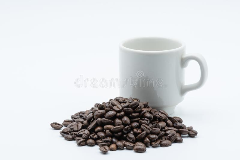 Coffee seed in a coffee cup. Coffee seed in a white ceramic cup on a white background royalty free stock photography