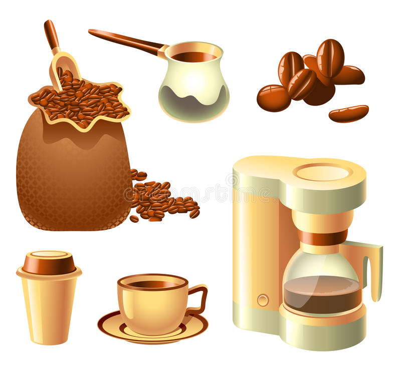 Download Coffee Set stock vector. Illustration of disposable, cezve - 17649317