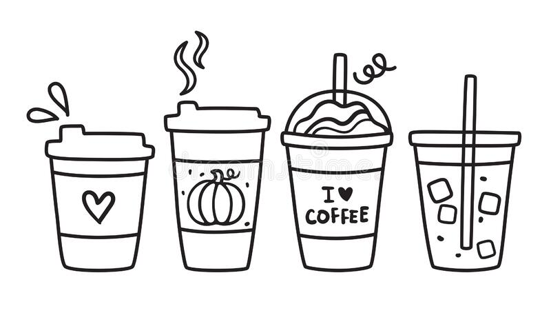 Cute Hot and Iced Coffee To Go Doodle Vector Illustration stock images