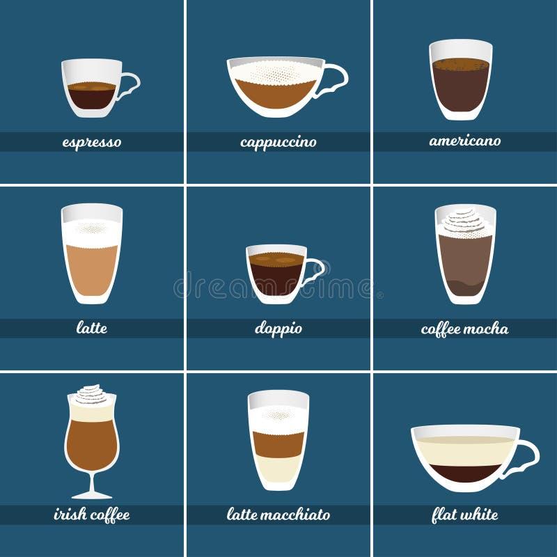 Coffee set. Different kinds of hot beverages. Vector illustration. stock illustration