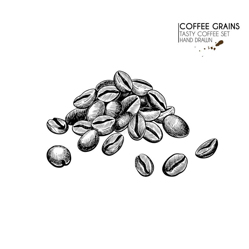 Coffee set. Hand drawn coffee bean pile. Freshly roasted or raw grain heap. Vector engraved icon. Morning fresh drink stock illustration