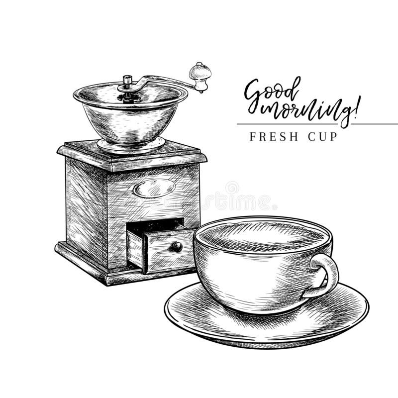 Coffee set. Hand drawn coffee vintage grinder or mill and cup. Vector engraved icon. Morning fresh drink. For restaurant vector illustration