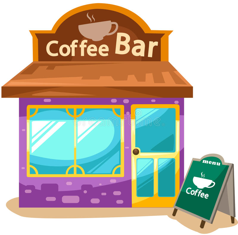 Coffee shop. Illustration of isolated coffee shop on white background stock illustration