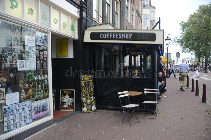Coffee-shop in Amsterdam, Netherlands royalty free stock images