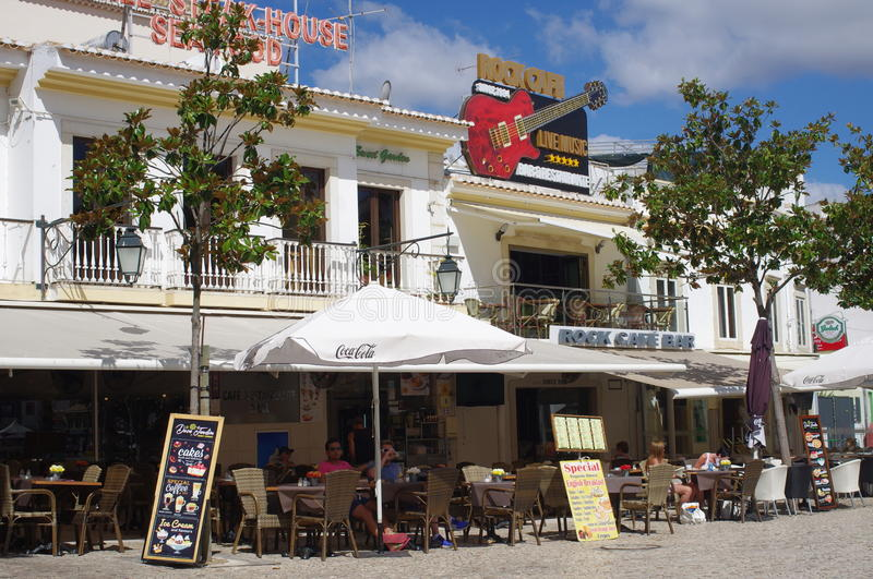 Coffee shop and bars. Coffee shop Bars in Albufeira in western Algarve in Portugal stock images