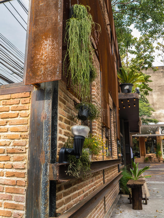 Download Coffee Shop Building Outdoor Decorate With Plants. Stock Photo - Image: 36048190