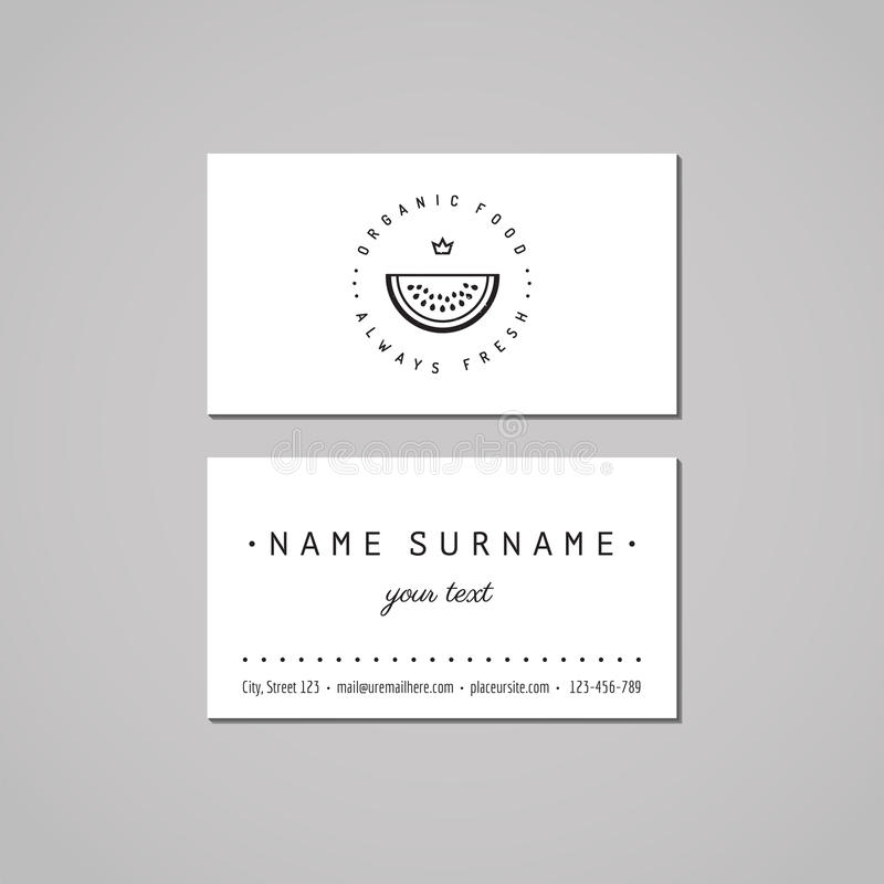 Organic food business card design concept. Food logo with watermelon and crown. Vintage, hipster and retro style. royalty free illustration