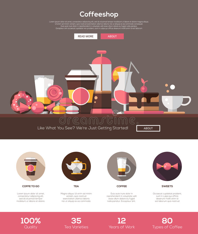 Coffee Shop, Cafe Bakery Website Template With Header And