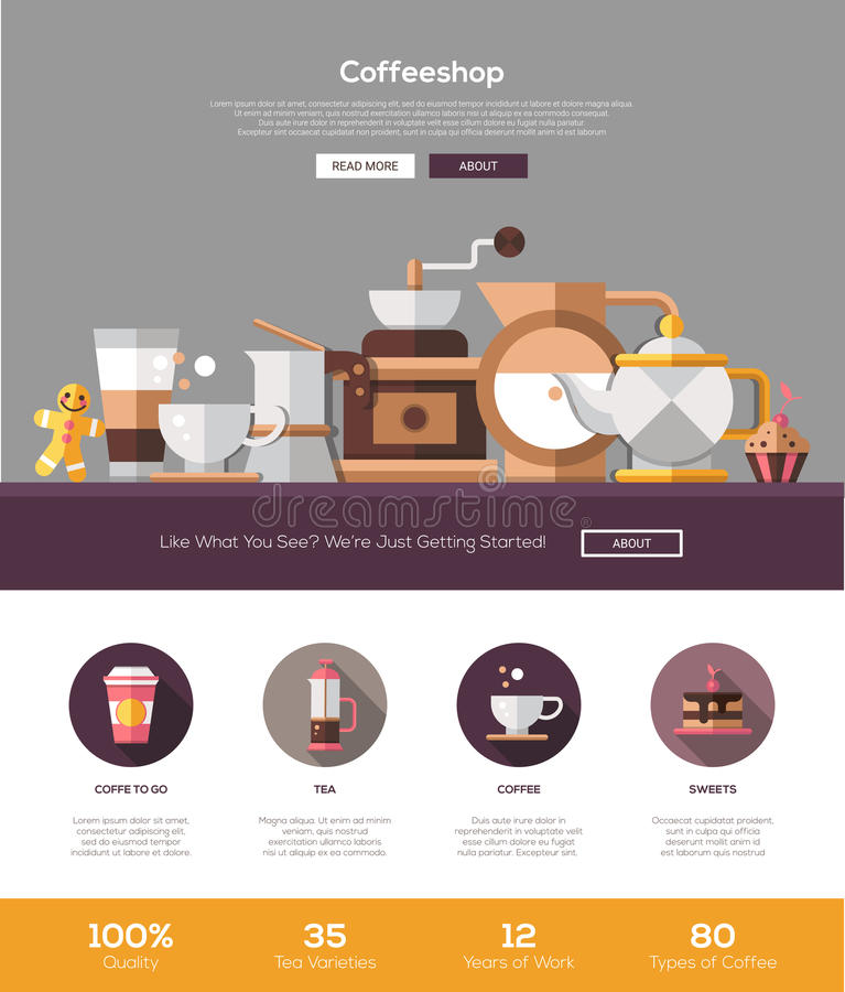 coffee shop cafe bakery website template with header and icons stock vector image 67864090. Black Bedroom Furniture Sets. Home Design Ideas