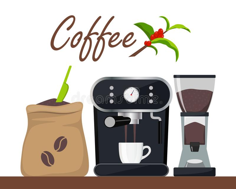 Coffee shop or cafe design illustration with coffee machine, sack with beans, grinder, cup. Tree branch with leaves and coffee royalty free illustration