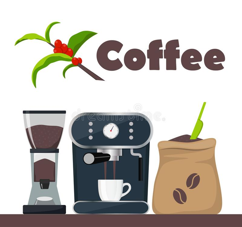 Coffee shop or cafe design illustration with coffee machine, sack with beans, grinder, cup. Tree branch with leaves and coffee. Berries. Advertising design vector illustration