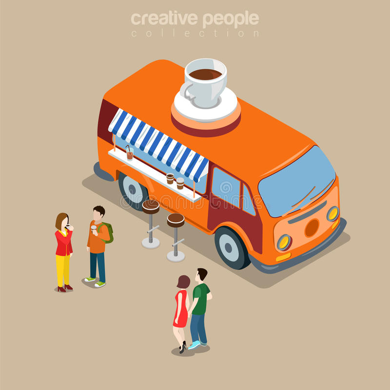 Coffee shop cafe fast street food van 3d isometric vector flat royalty free illustration