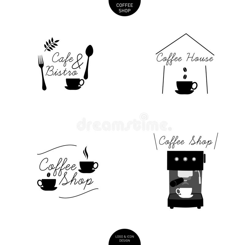 Coffee shop Cafe logo design line icon with handwriting type royalty free stock photo
