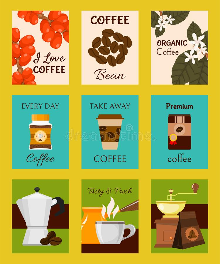 Coffee shop cards, banners vector illustration. Paper cup for take away drink. Premium coffee beans. Every day organic vector illustration