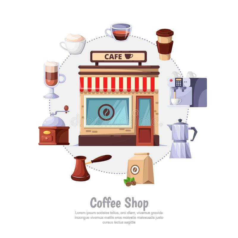 Coffee shop concept. Vector circle label and design elements. Street cafe or bakery isolated on white background. stock illustration