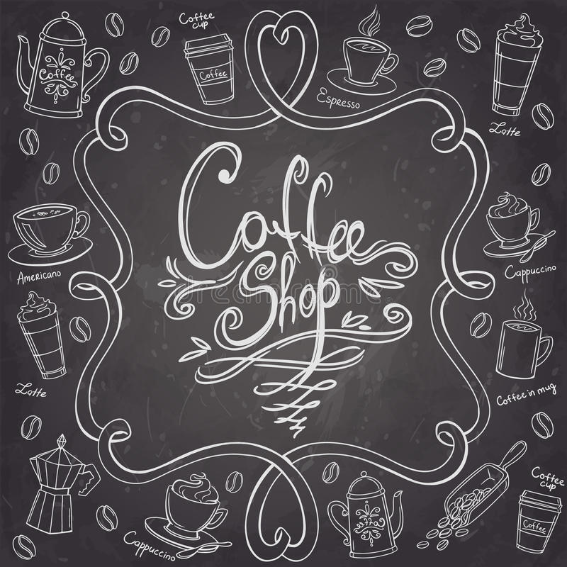Coffee shop design frame. Stylized chalkboard coffee background. Vector illustration stock illustration