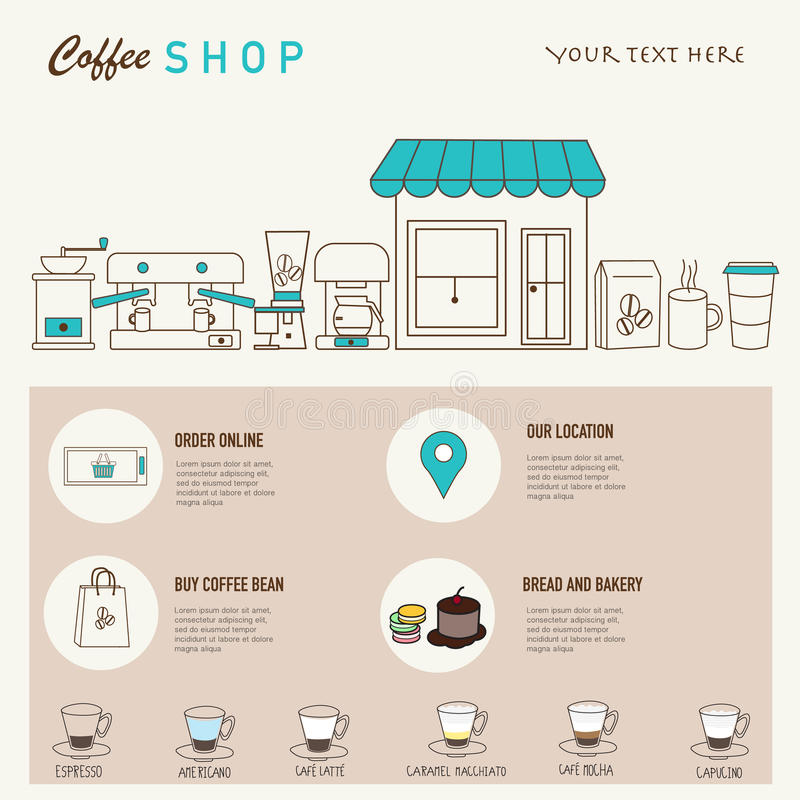 Coffee shop design web template with linear icons . stock illustration