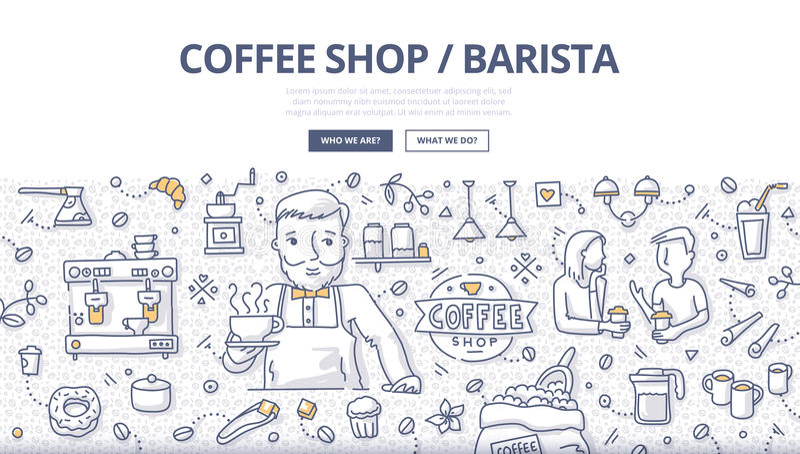 Coffee Shop Doodle Concept stock illustration