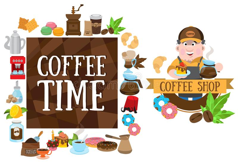 Coffee shop. Elements for design products with a coffee theme stock image