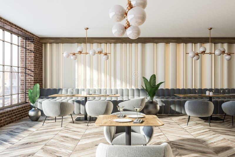 Coffee shop för soffor och för fåtöljer för grå färger för tegelstenvägg vektor illustrationer