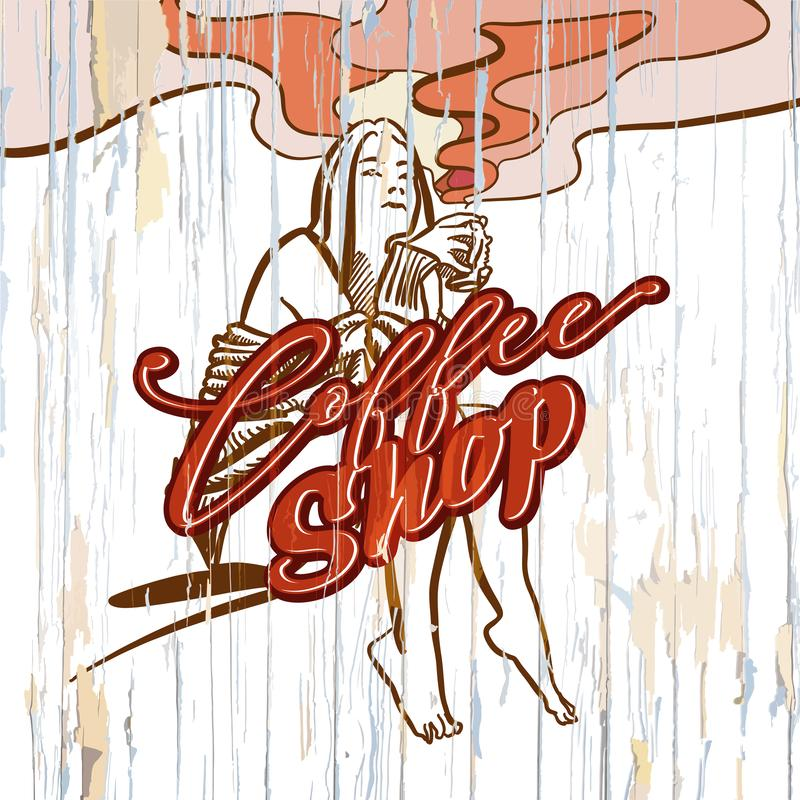Coffee shop girl drawing on wooden background vector illustration