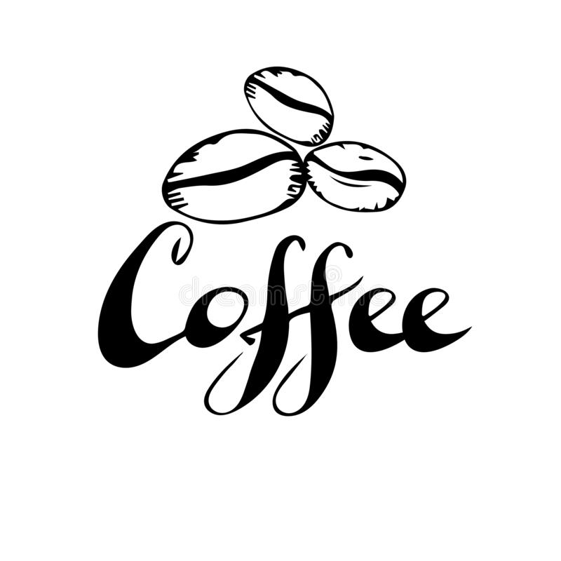 Coffee Shop Hand Drawn Logo Template. Vector Design Element Vintage Style for Logotype, Label, Badge, Emblem. Coffee Logo, Coffee stock illustration