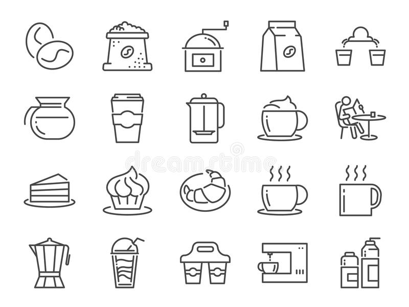 Coffee shop icon set. Included icons as cafe, coffee beans, coffee maker, machine, espresso, latte, glass pot and more. royalty free illustration