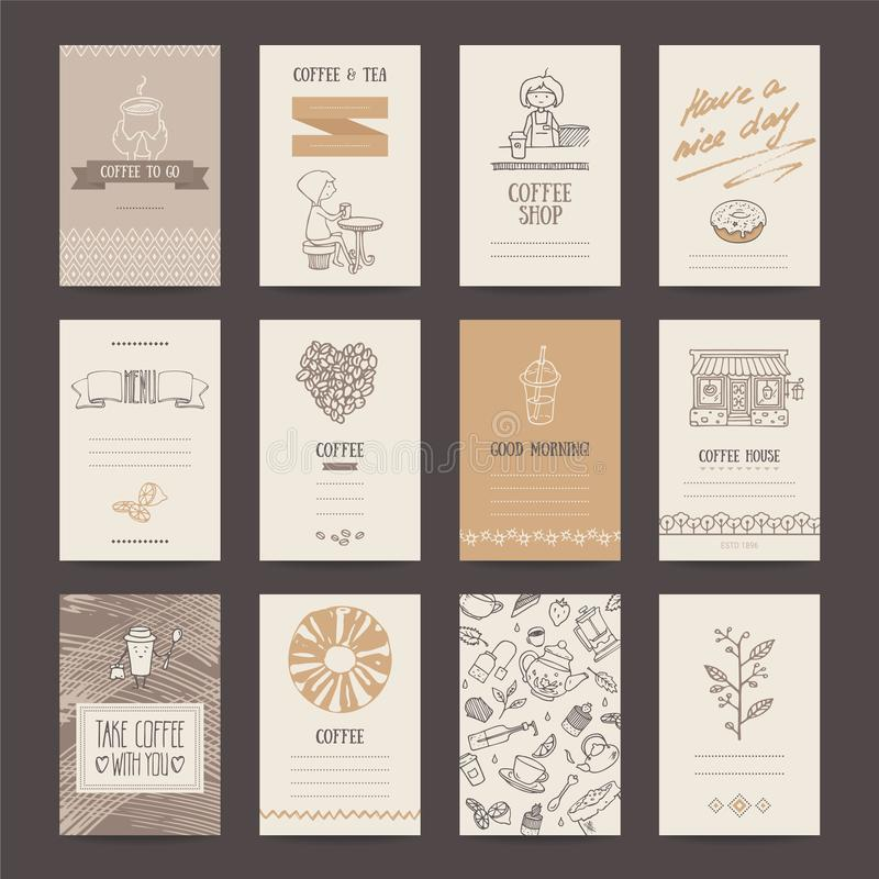 Coffee Shop Business Card, Flyer, Menu Template Stock Vector ...