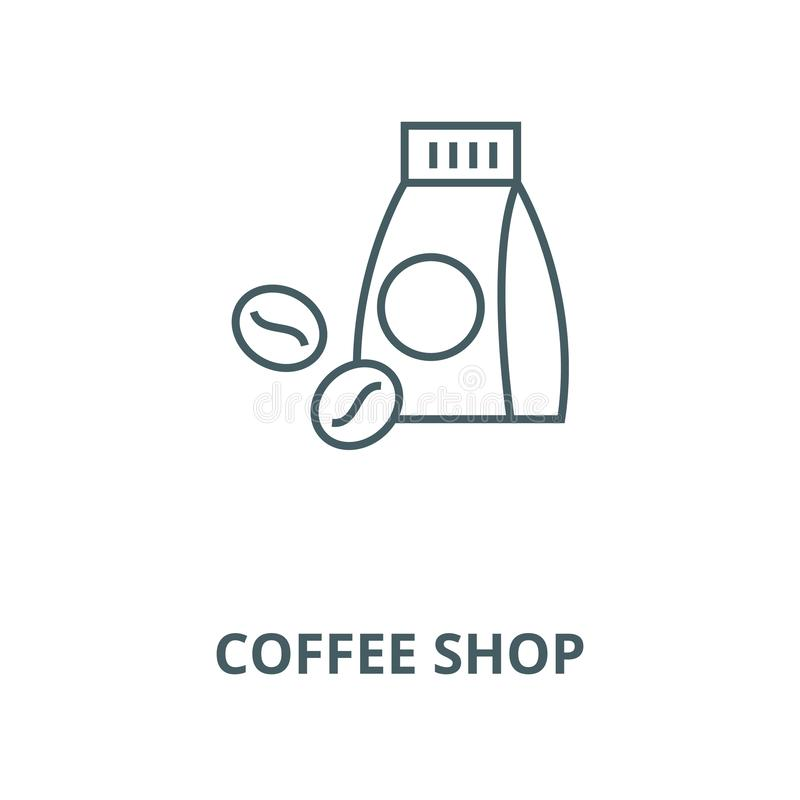 Coffee shop line icon, vector. Coffee shop outline sign, concept symbol, flat illustration stock illustration