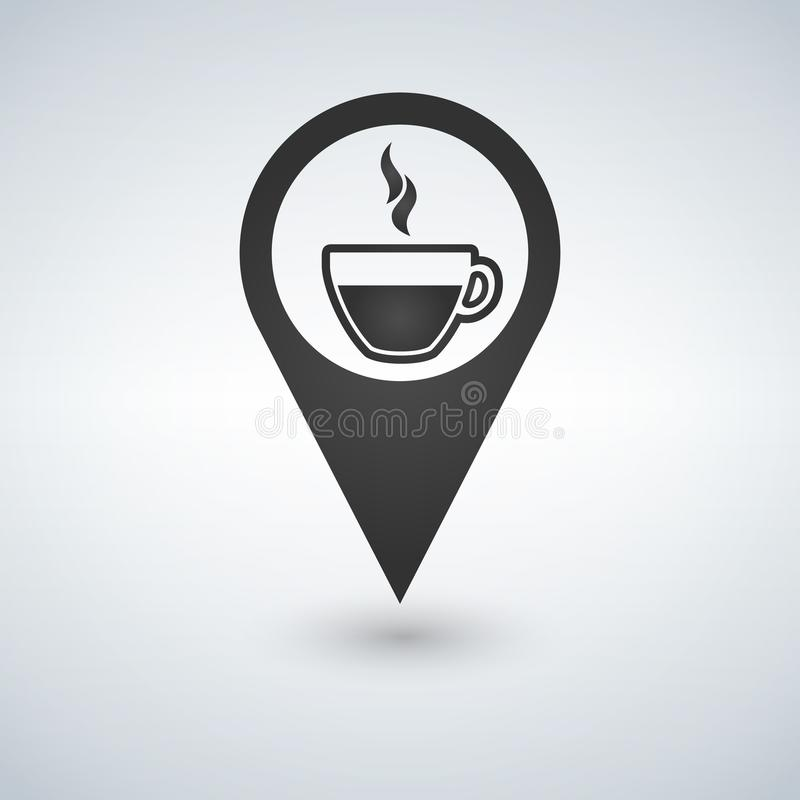 Coffee shop location with coffee cup icon , filled flat sign, solid pictogram isolated on white. Symbol, logo illustration. vector illustration