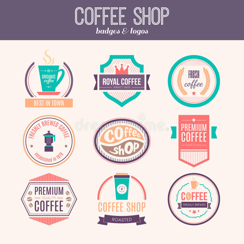 Coffee shop Logo Collection vektor illustrationer