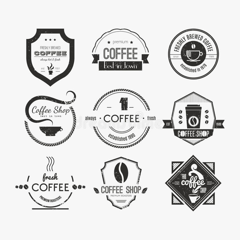 Coffee shop Logo Collection stock illustrationer