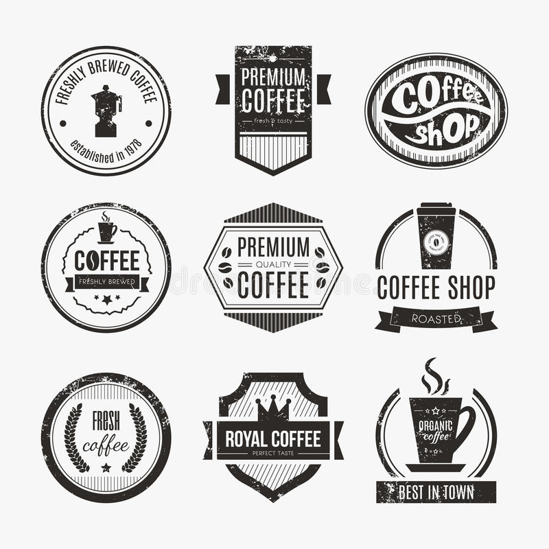 Coffee Shop Logo Collection. Vector set of coffee shop logos, restaurant or bar logotype design elements with mugs and beans. Ribbons, circle shapes, lables stock illustration
