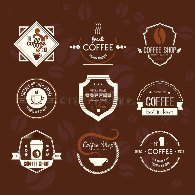 Coffee Shop Logo Collection royalty free illustration