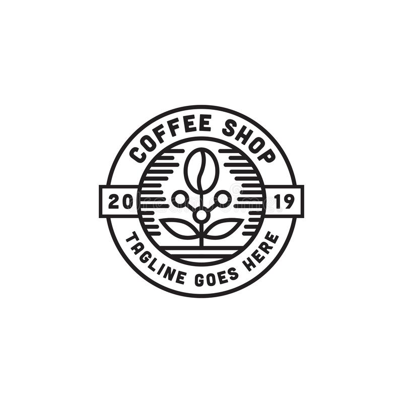 Coffee shop Logo Design Inspiration med linjen konstvektor vektor illustrationer