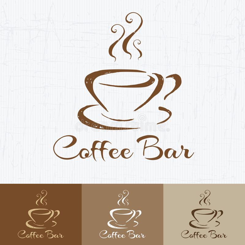 Coffee shop logo design template retro style. Vintage Design for Logotype, Label, Badge and brand design. Hand drawn coffee cup ve royalty free illustration