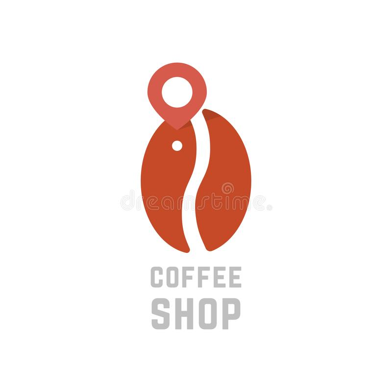 Coffee shop logo like bean with map pin stock illustration