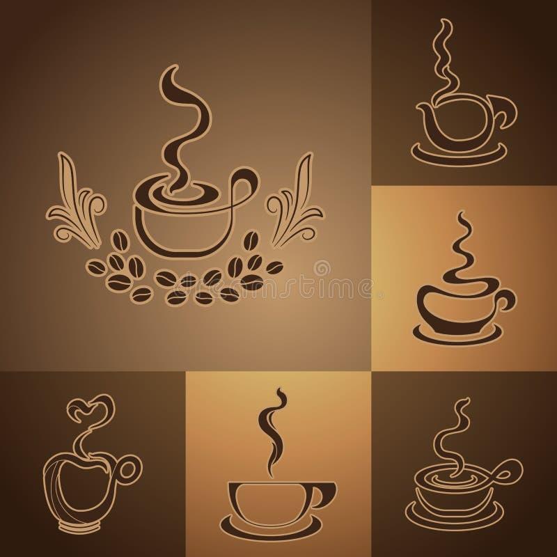 Coffee shop logos royalty free stock photography