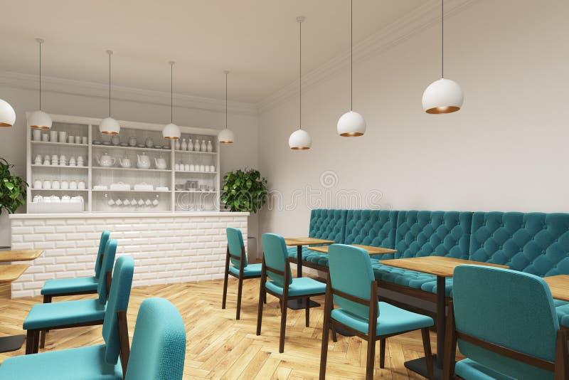 Coffee shop med blåa stolar, sidosikt vektor illustrationer